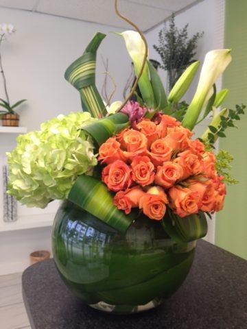 Fish Bowl Round Roses Bouquet