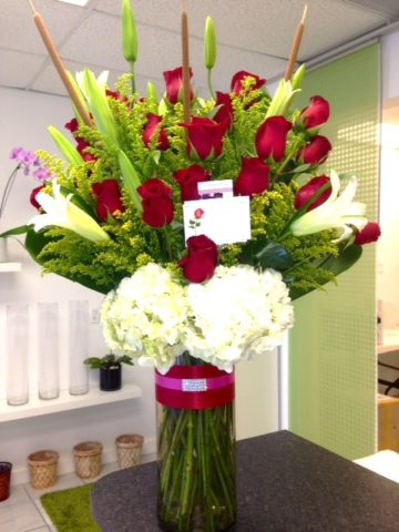 classic opened roses arrangement