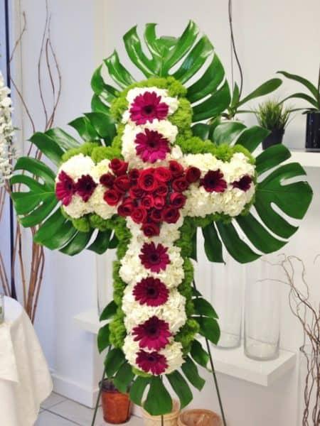 standing cross sympathy flowers
