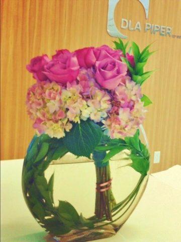 half moon roses arrangement