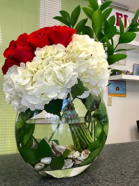 Half Moon Roses Arrangement