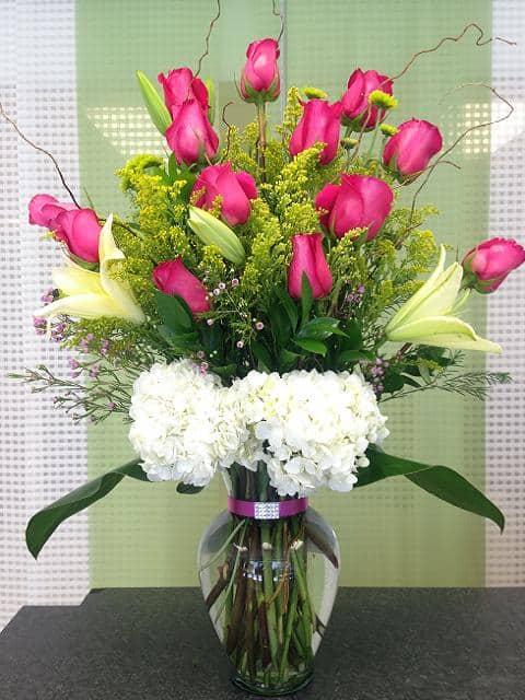 Long Stem Roses Arrangement Flower Bouquet Miami Delivery