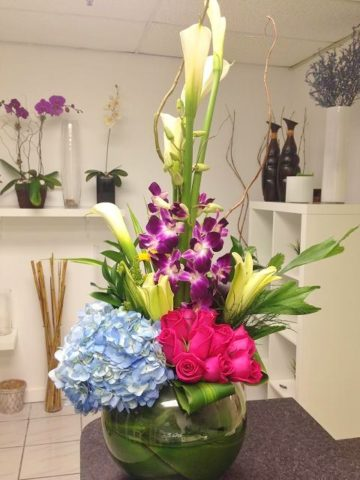 Fish Bowl Zen Style Flower Bouquet