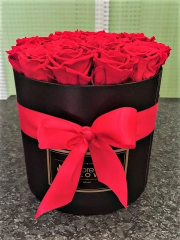 Passion Red Preserved Roses in a Black Box